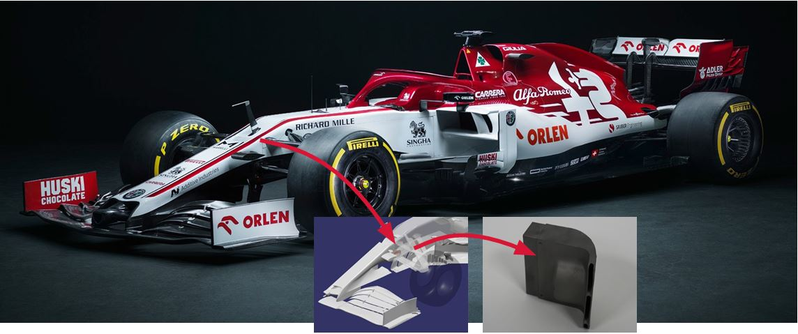 Figure 8. Front chassis inserts (2+2) made of L-PBF Ti6Al4V and post-processed by HPHT (HIP+STA) in C39 formula 1 racing car, Alfa Romeo Racing ORLEN ©2020